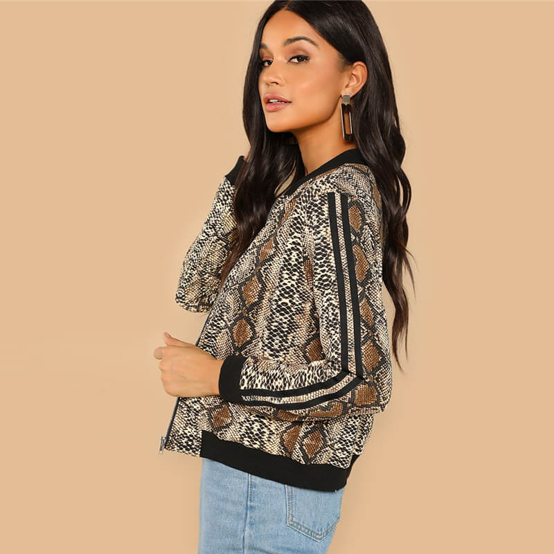 Snakeskin Print Colorblock Striped Sleeve Jacket - Nikkiaz