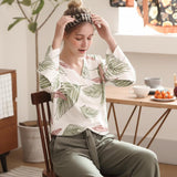 Leaf Print Long Sleeve Pajama Set - Nikkiaz