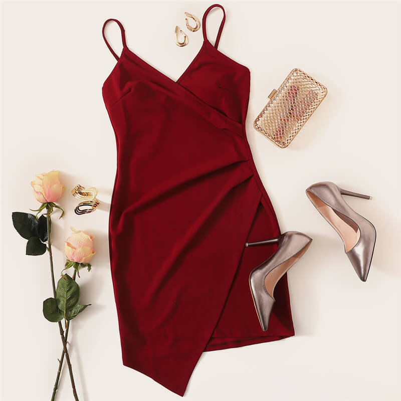 Burgundy Asymmetrical Hem Mini Dress - Nikkiaz