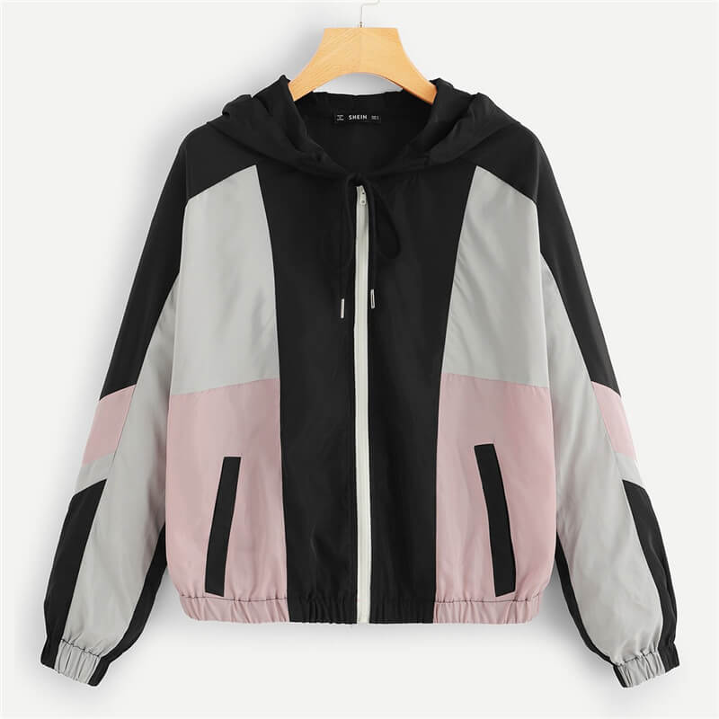 Casual Color Block Oversized Hoodie Jacket - Nikkiaz