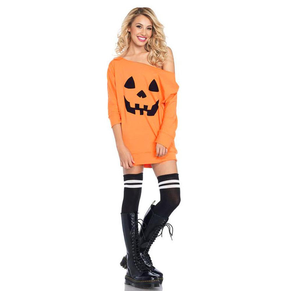 Slanted Shoulder Pumpkin Dress - Nikkiaz