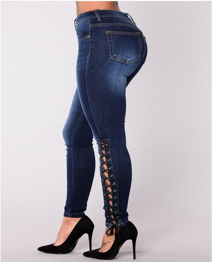 Stretch Denim Lace-up Jean - Nikkiaz