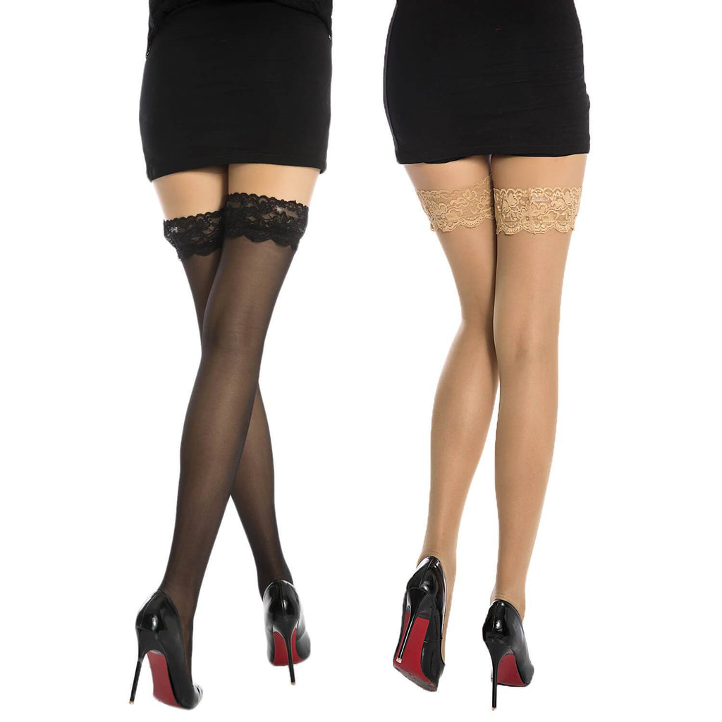 Lace High Stocking 2 Pack - Nikkiaz