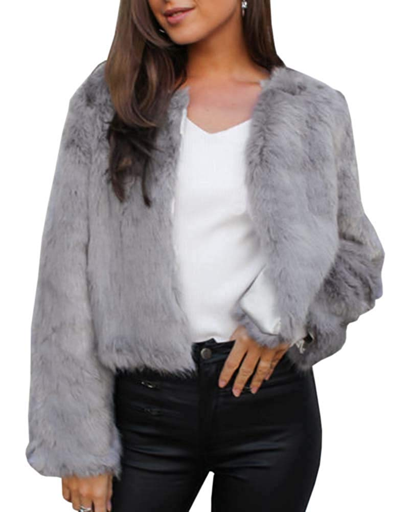 Faux Fur Open Front Shaggy Coat - Nikkiaz