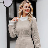 ZerBala Elegant plaid Turtle neck dress