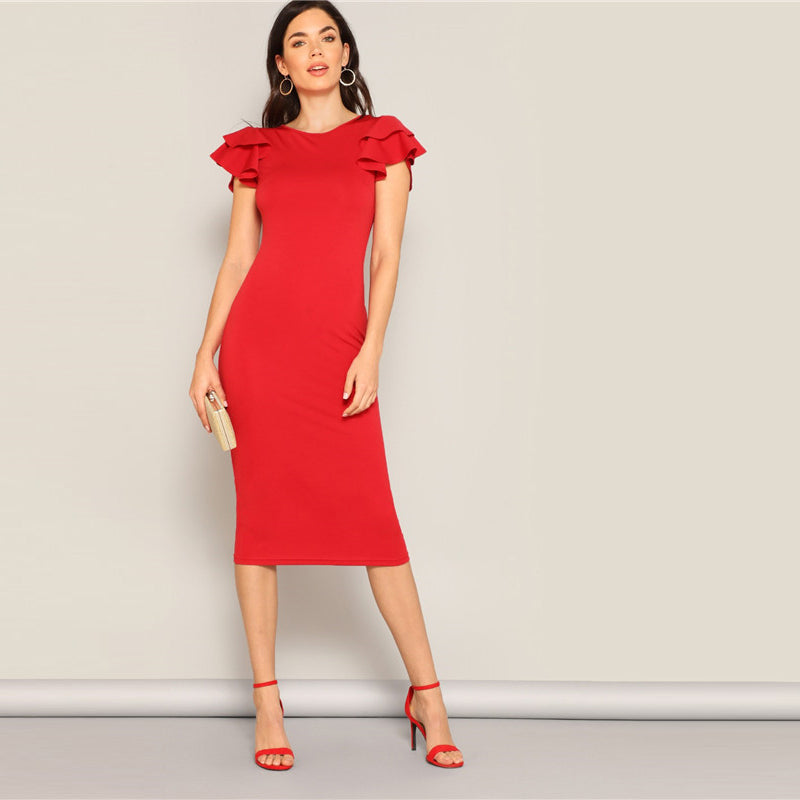 Red Layered Ruffle Sleeve Dress - Nikkiaz