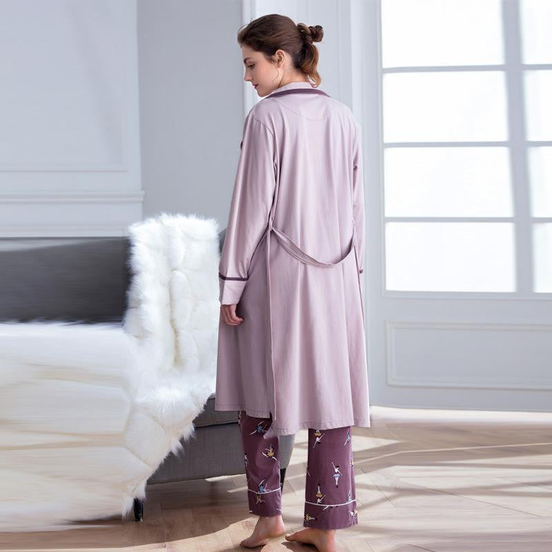 Cotton Long Sleeve 3 Pc Pajama Set - Nikkiaz