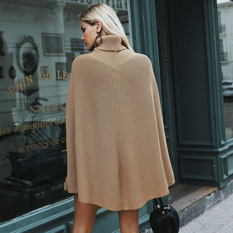 Turtleneck Poncho Sweater - Nikkiaz