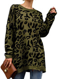 Crew Neck Leopard Long Sleeve Pullover Sweaters