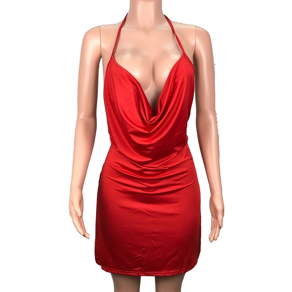 Sexy Deep V-Neck Halter Backless Dress - Nikkiaz