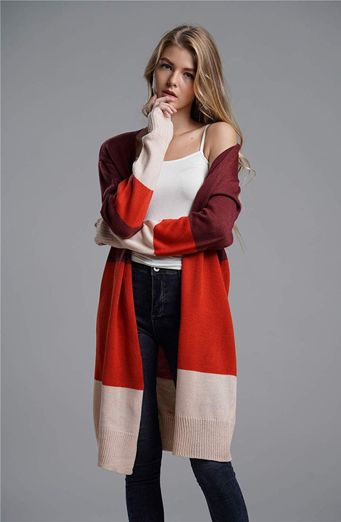 Women Open Front Long Cardigan Strip Color Block - Nikkiaz