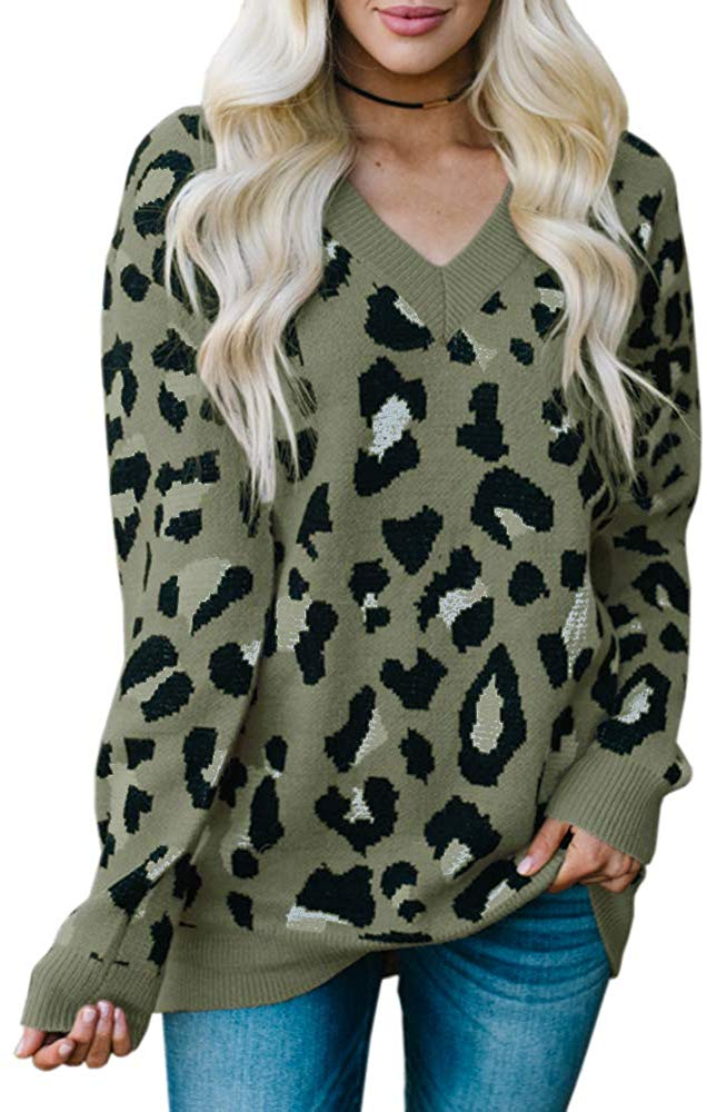 V Neck Knitted Stylish Leopard Pullover Sweater - Nikkiaz