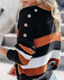 Women Crew Neck Color Block Striped Sweaters Pullover - Nikkiaz