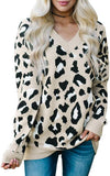 V Neck Knitted Stylish Leopard Pullover Sweater