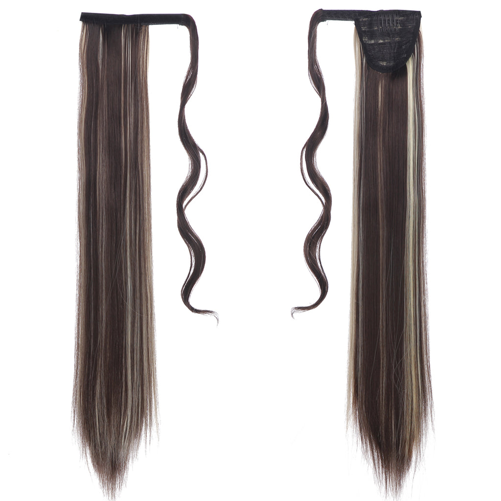 YOUNGWAYS Long Straight Fake Clip in Ponytail Extension Wrap Around 24INCH Synthetic Hairpieces