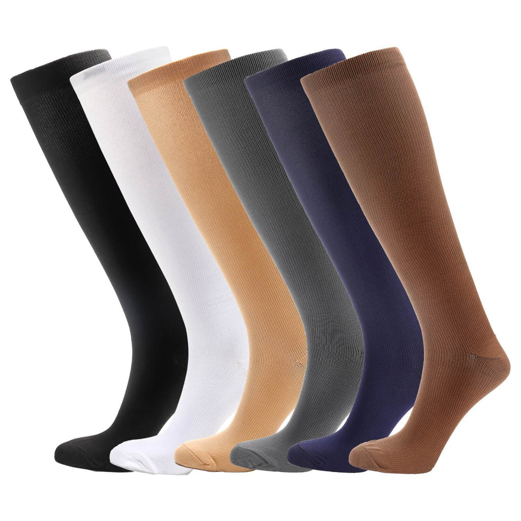 Moderate Graduated Compression Socks 6 Pairs - Nikkiaz
