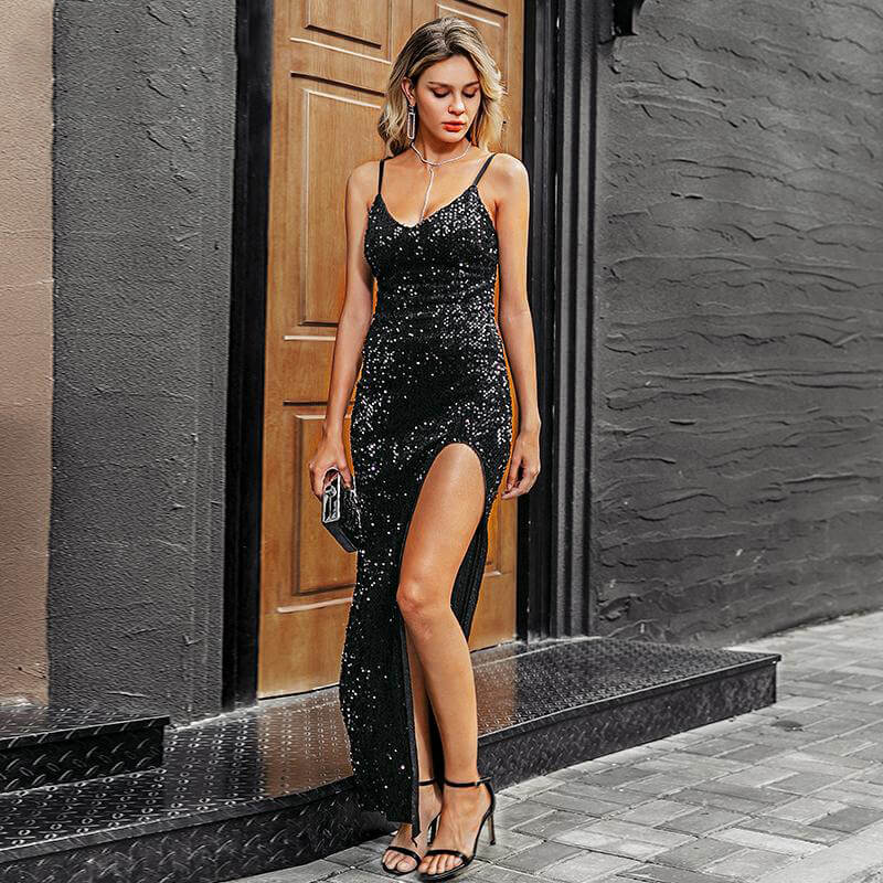 Sexy v-neck sequined long dress - Nikkiaz