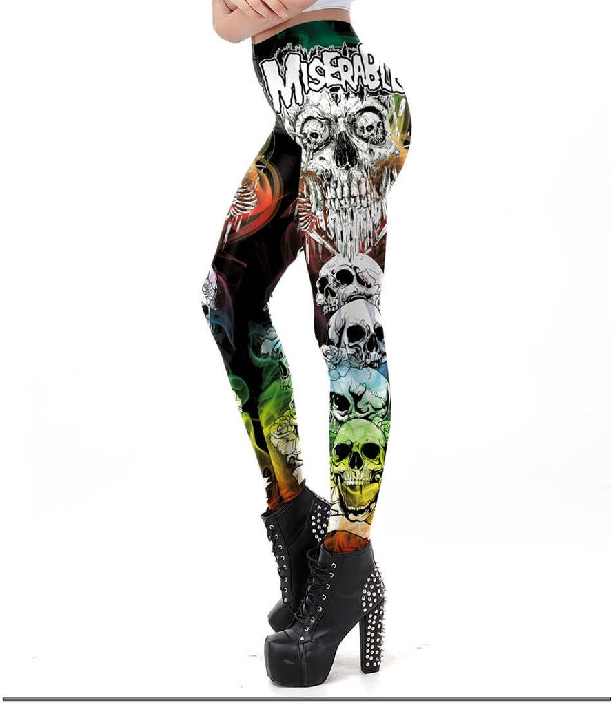 Gothic Skull Leggings For Women - Nikkiaz
