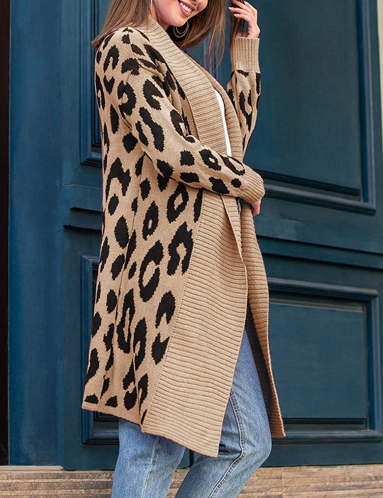 Women's Long Sleeve Leopard Print Cardigan Sweater - Nikkiaz