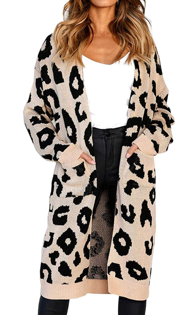 Leopard Knitting Long Sleeves Cardigan Sweater with Pocket - Nikkiaz