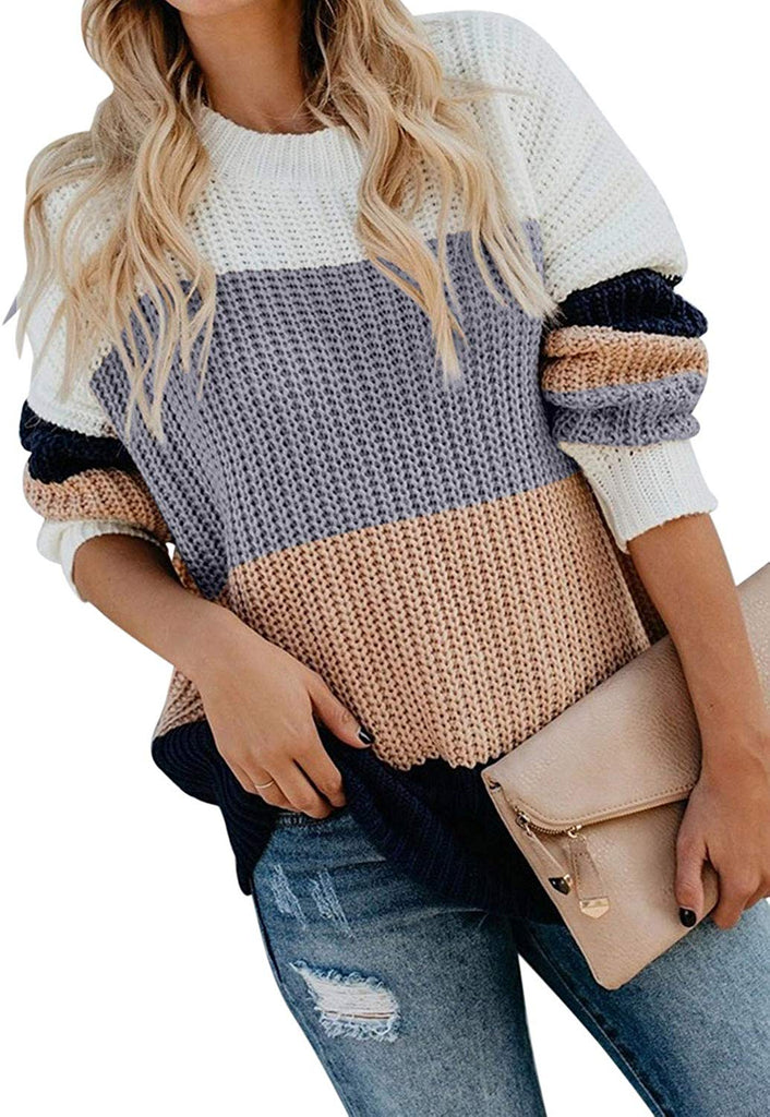 Women Oversized Color Block Long Sleeve Knitted Sweater - Nikkiaz