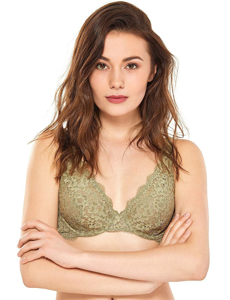 Women Underwire Unlined Plunge Lace Bralette