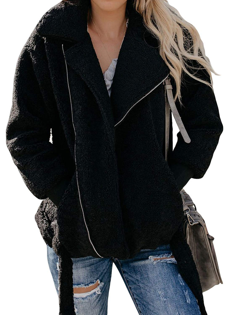 Lapel Zip Up Faux Fur Jacket - Nikkiaz