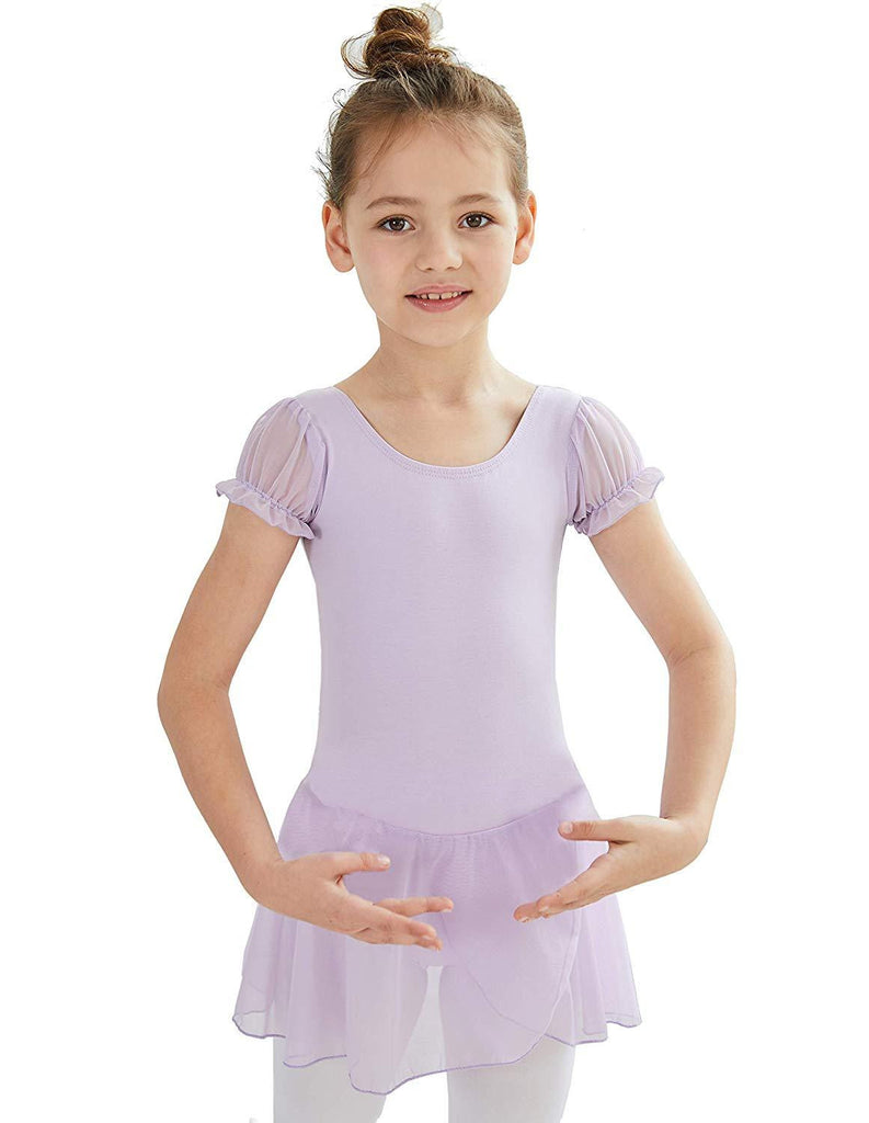 Ballet Pink, Age 10-12, MdnMd Skirted Leotard for Girls with 2-Layer Lace Dress