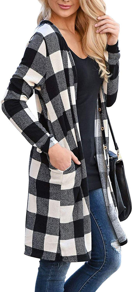 Women Open Front Long Plaid Cardigan Sweater - Nikkiaz