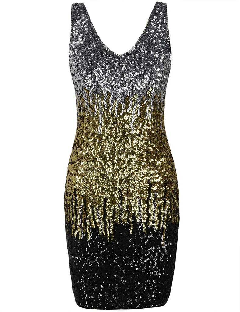 Sexy Deep V-Neck Sequin Glitter  Dress - Nikkiaz
