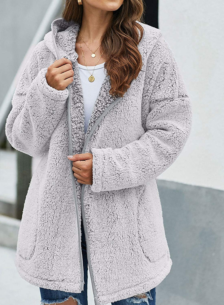 Open Front Hooded Cardigan Coat - Nikkiaz