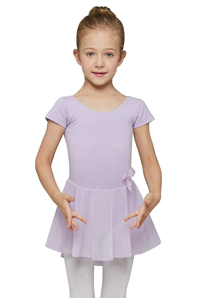 Girls' Skirted Short Sleeve Leotard - Nikkiaz