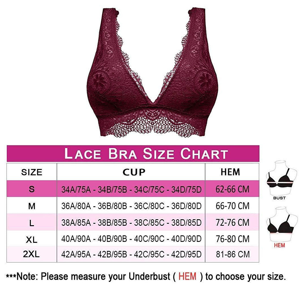 Women Deep V Neck Lace Bralette