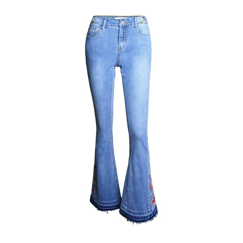 Bell Bottom Embroidery Jean - Nikkiaz