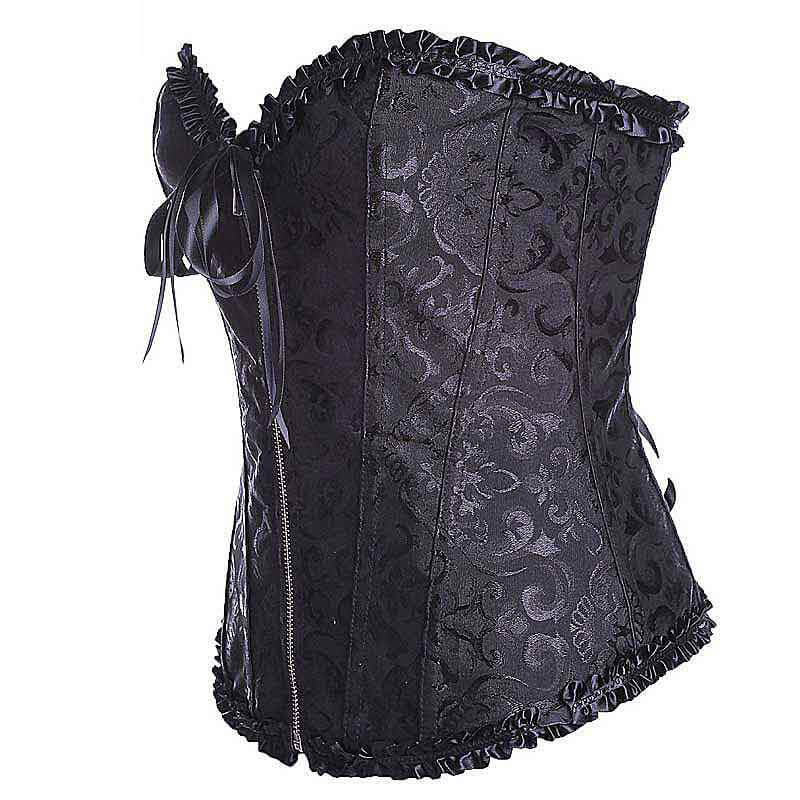Zipper Lace Up Corset - Nikkiaz