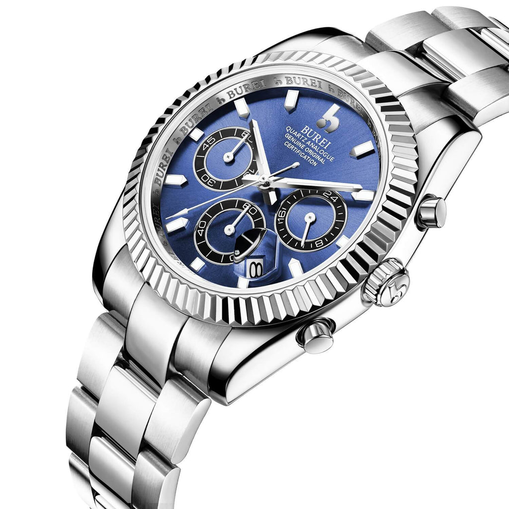 Silver Stainless Quartz Chronograph Watch - Nikkiaz