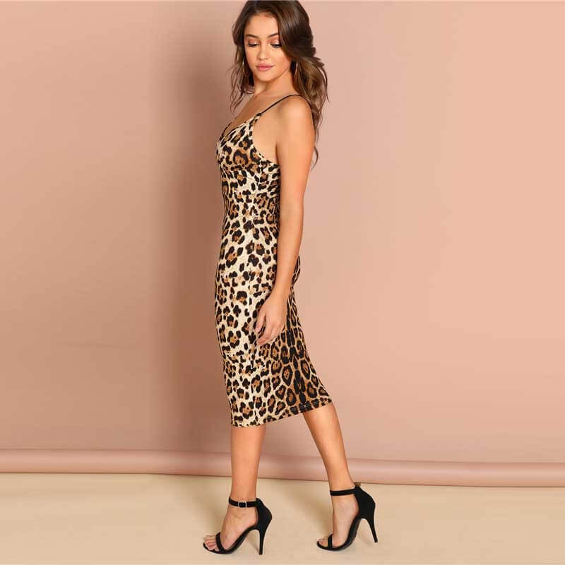 Sexy Party Backless Leopard Print Dress - Nikkiaz