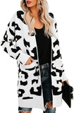 Leopard Print Loose Cardigan Sweater Pockets