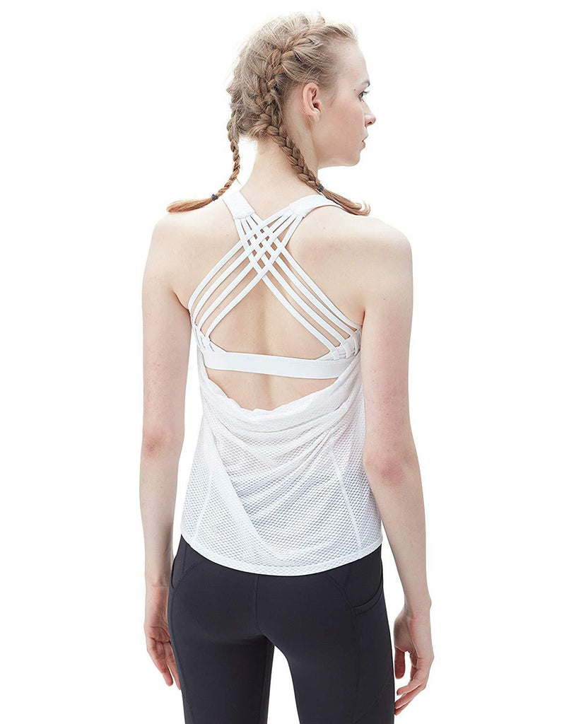 2 in 1 Sport Tank Top Criss-Cross Straps - Nikkiaz