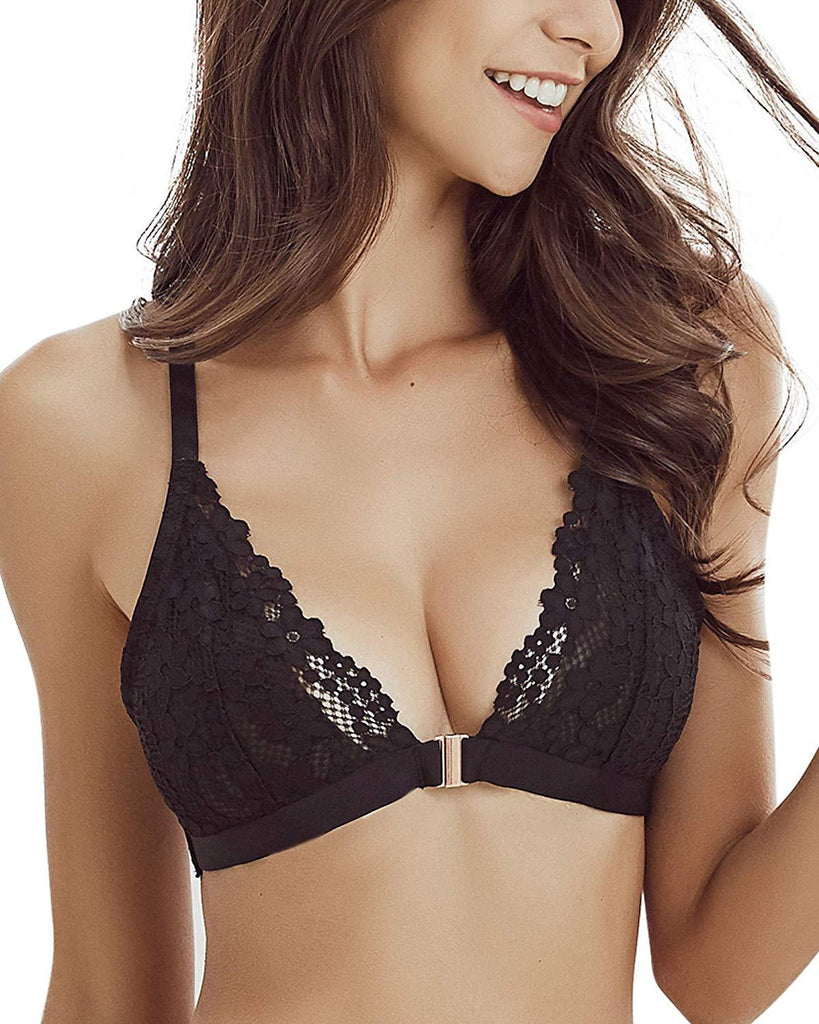 Women Wire Free Triangle Cup Lace Bralette - Nikkiaz