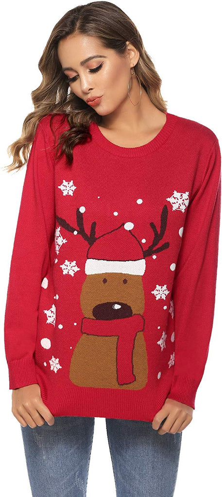 Women Ugly Christmas Sweater Knitted Pullover - Nikkiaz