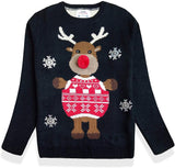 Women Christmas Cute Reindeer Knitted Sweater Pullover - Nikkiaz