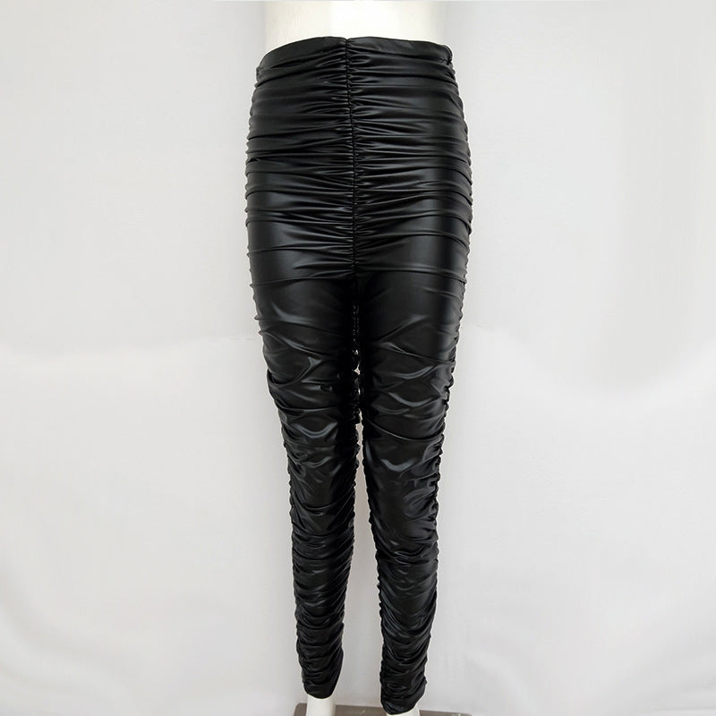 Faux Leather Pants Pleated - Nikkiaz