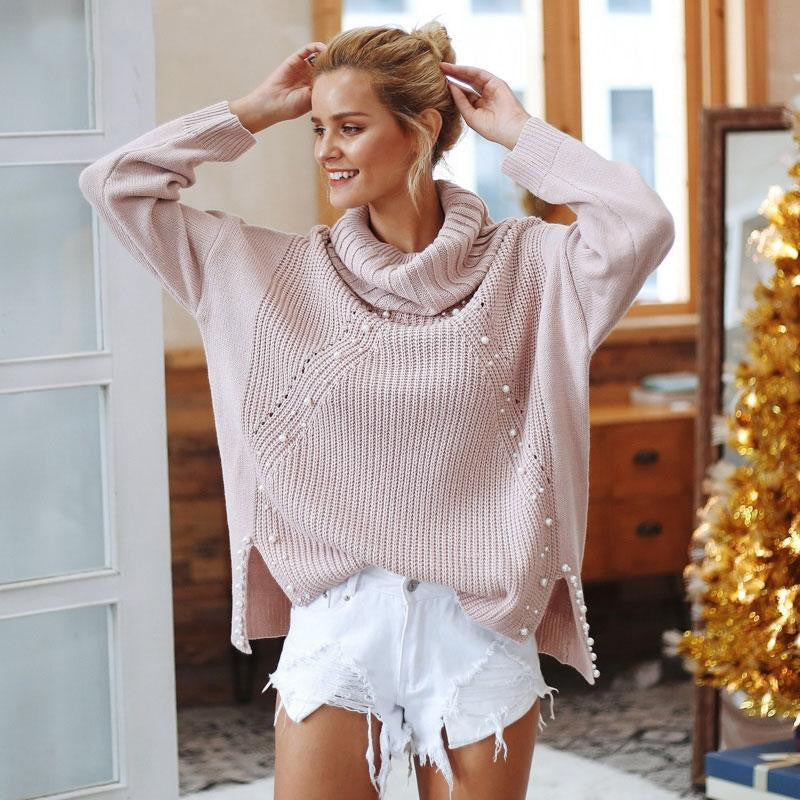 Turtle Neck Pearl Pullover Sweater - Nikkiaz