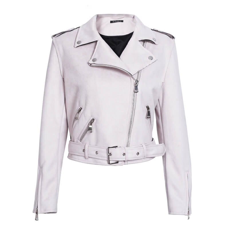Women zipper belt moto jacket - Nikkiaz