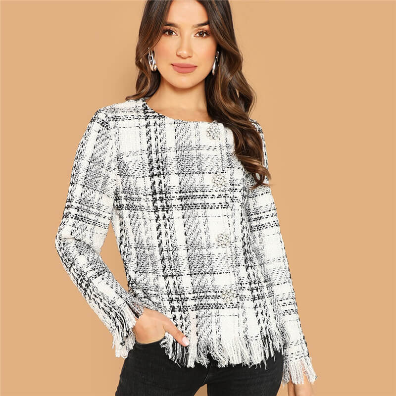 Frayed Edge Tweed Women Coat - Nikkiaz