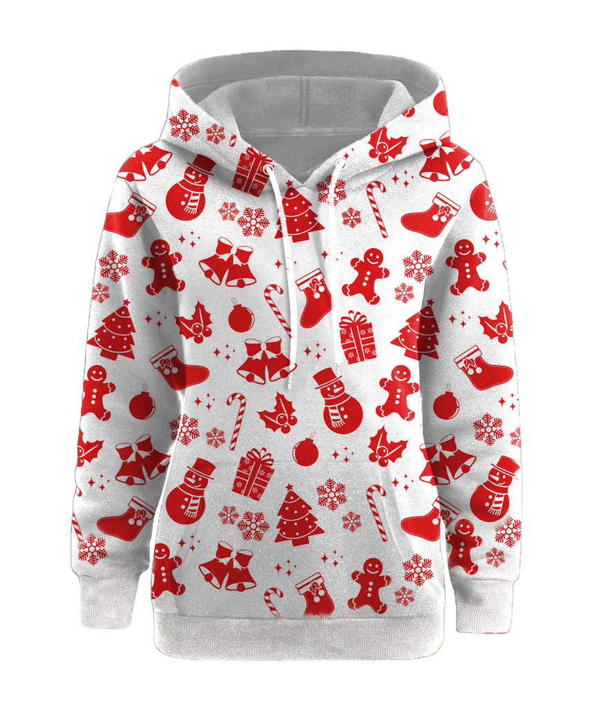 Plus Size Christmas Snow Man Hoodies - Nikkiaz