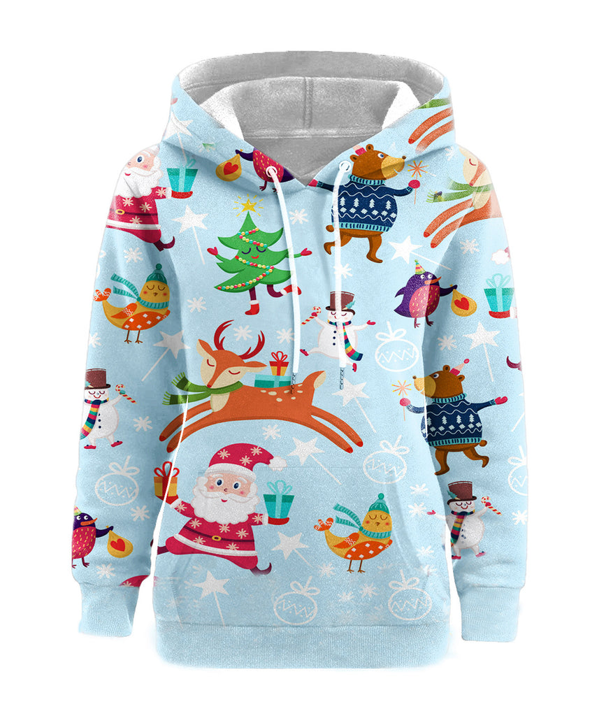 Plus Size Santa Claus Hoodies - Nikkiaz
