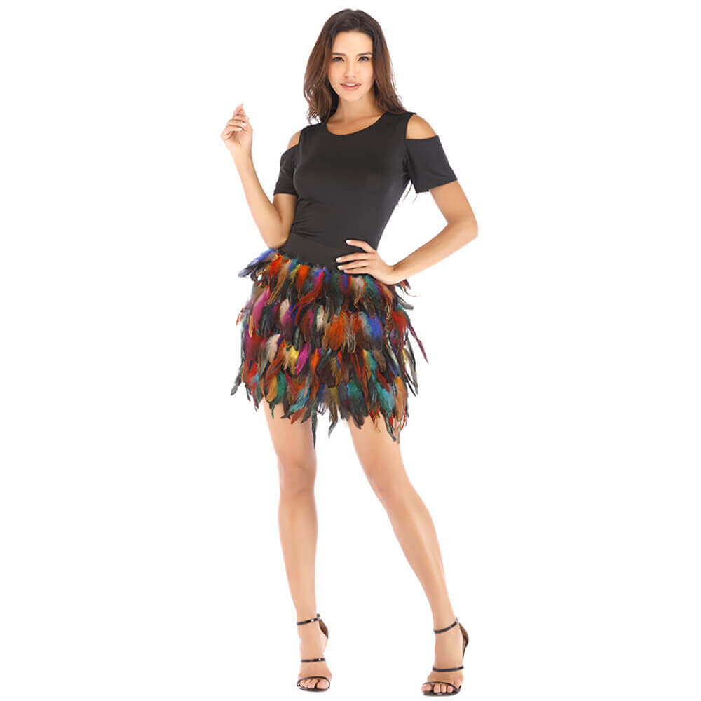 Halloween Faux Fur Feather Skirt - Nikkiaz