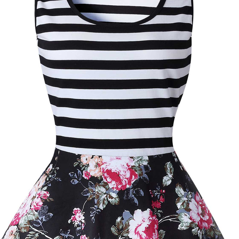 Ensanrt Women's Chic Striped Floral Print Sleeveless Swing Casual Party Cocktail Dresses
